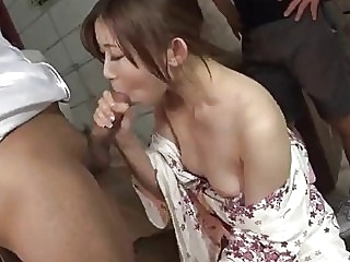 Group fucking the hell out of her soaking wet vagina 3some asian cock sucking