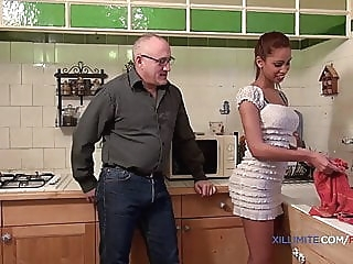 Young blacked girl fucked by an old man anal blowjob interracial